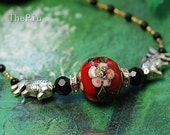 Buy 3 Get One Free  Pisces Cloisonne Necklace Red n400