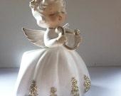 Christmas Angel Planter with Harp 1950s