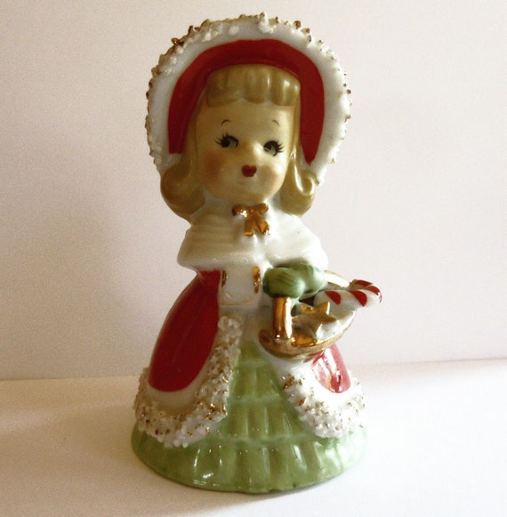Lefton Christmas Girl Bell with Basket 1950s