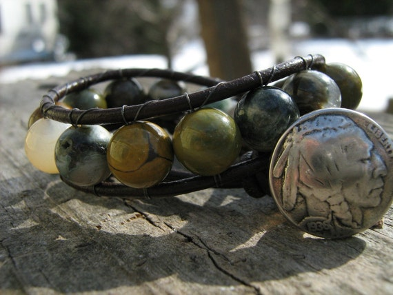 Agate beads, brown leather, Indian head dime button