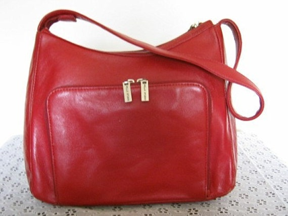 Vintage WILSONS FINE Leather - Pelle Studio Red Leather Handbag with Strap Excellent Condition