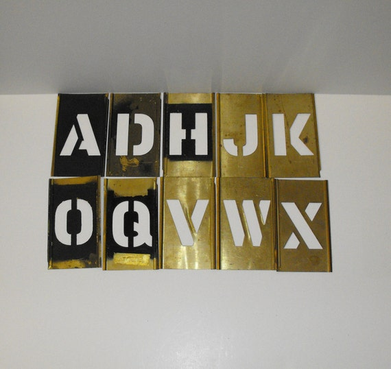 """Interlocking Brass Stencils with 2"""" Tall Letters and Numbers"""