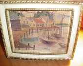 Vintage Pictures TWO small framed harbor scene prints