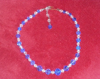 Vintage blue and clear crystal faceted beaded necklace.