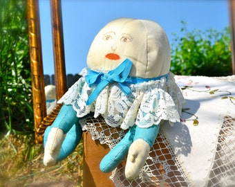 Handmade Vintage Humpty Dumpty Doll with Robin's Egg Blue Suit and Lace Collar
