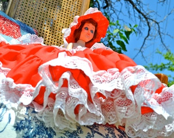 Little Miss Muffet Duchess Doll Vintage Handcrafted Storybook Dolls Bedroom Decor in Red Scarlet Dress with Lace Ruffles and Sun Hat
