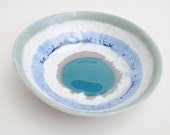 Ceramic Pottery Bowl Dish: Handmade stoneware pottery Teal green and misty blue