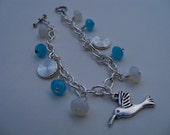 Silver Hummingbrd Charm Bracelet, Sky Blue, Silver and Opalite, 8 inches