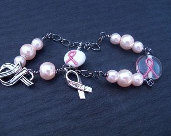 Pink Pearl, Breast Cancer Awareness Bracelet