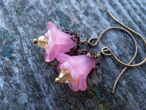 Pink Lucite and Czech Glass Flower Earrings, Neo-Victorian, Romantic