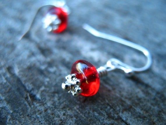 Ruby Red Glass Earrings, Silver Dangles