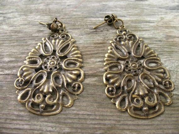 Long Bronze Earrings, Filigree, Boho on Posts