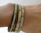 Set of 2 brass and mother of pearl bracelets - bangles - boho bohemian hippie retro chunky cuff gold tone