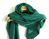 RESERVED for KATRIN Large Vintage emerald green silk / satin scarf fabric 80s