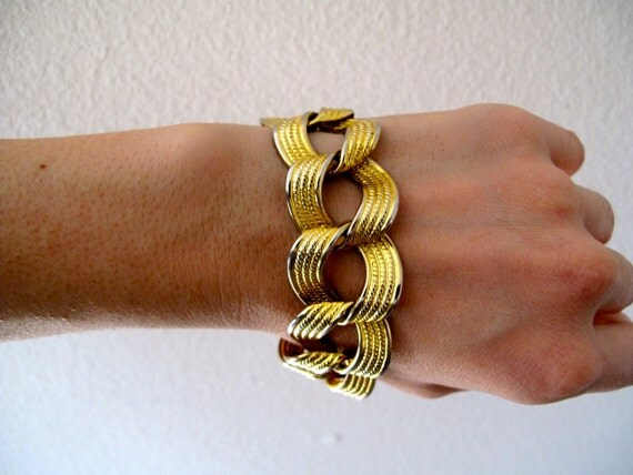 Vintage bracelet cuff - bracelet 70s boho hippie chain - brass - gold tone