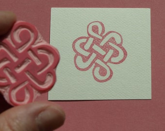 Celtic Knot Rubber Stamp Handmade Hand Carved Wedding Engagement Stamping