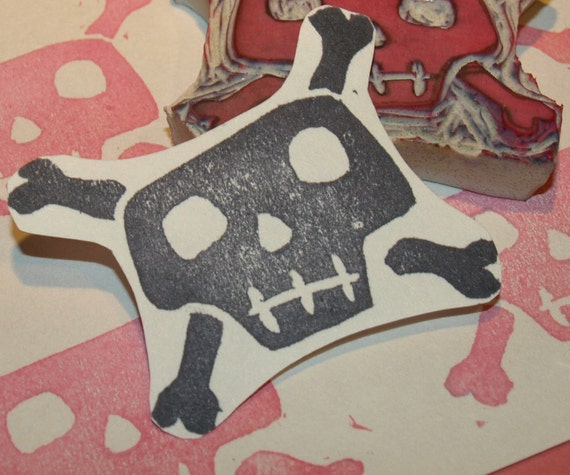 Skull and Crossbones Rubber Stamp - Hand Carved For Stamping Halloween Cards