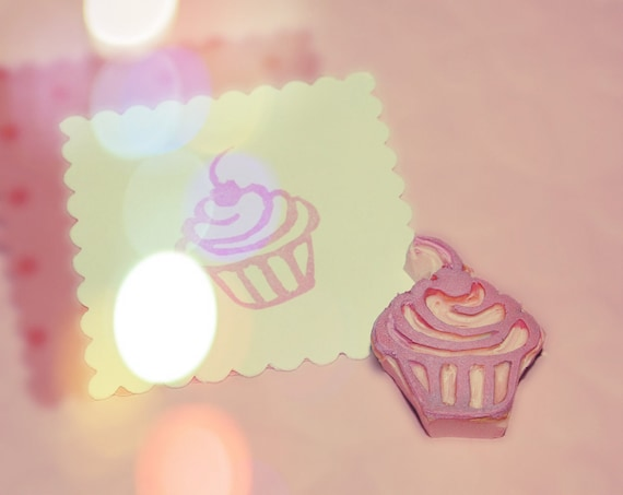 Mini Cupcake Rubber Stamp Hand Carved Cupcake Stamp