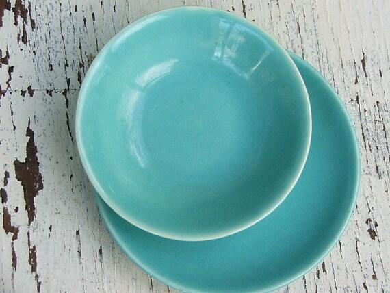Turquoise Bowl, Saucer: Paden City Pottery Caliente, Vintage