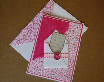 Mini Message Valentine  - Blank Card and Coordinating Envelope