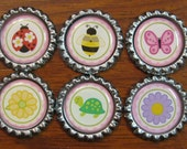 Sale..6 Spring Bottle Cap Magnets