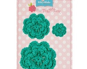 STORE CLOSING Sale Riley Blake Sew Together Teal/Aqua Crochet Flowers 1 Pkg.