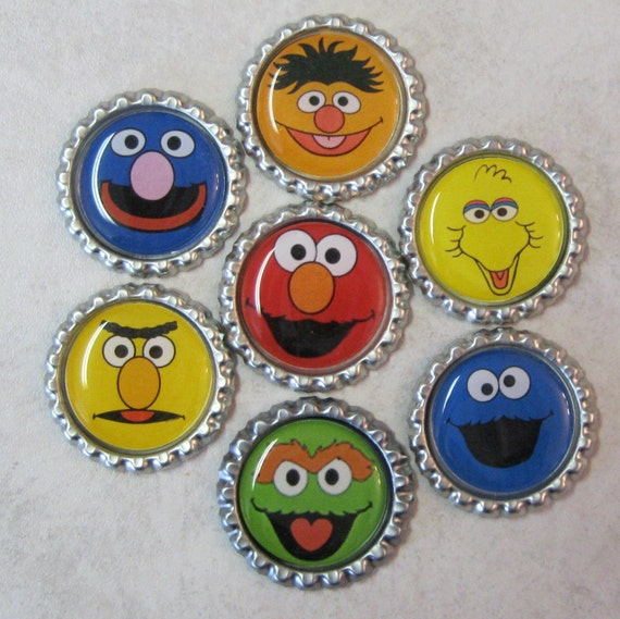 Sesame Street Bottle Cap Magnets--Great Party Favor or Gift