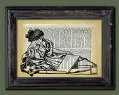 Women Reading  Vintage Print Collage Mixed Media Antique Dictionary Paper Low Priced