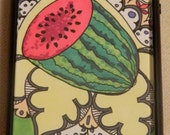 Watermelon Mirage, Iphone case, Iphone cover, Iphone 4/4s, watermelon, green, pink, purple, summer, pretty, unique, interesting,