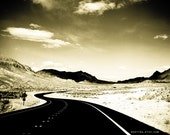 Open Road in the Desert Black and White Landscape Photography Print - Let's get Lost 12x18