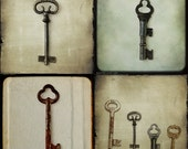 Skeleton Key Antique and Moody Photography Set of 4 Fine Art Print 5x5 - RustikaPhotography