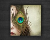 Blue Teal Feather Photography / Boho Peacock Feather Photography / Girl Face Photography / Square Format 10x10 IN STOCK