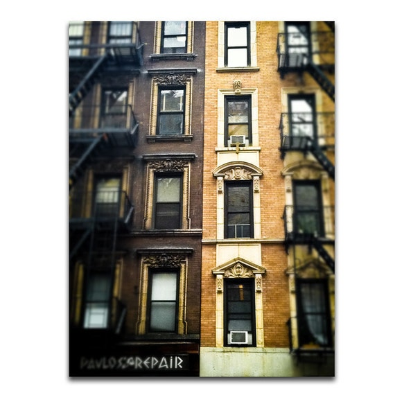 City Architecture Travel Photography / Rustic Brown New York City Building 8x10 IN STOCK