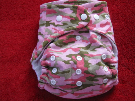 SassyCloth one size AIO pocket diaper with pink camo knit print. Made to order.
