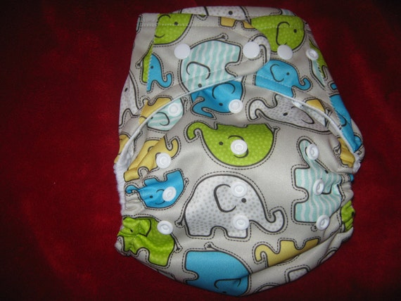 SassyCloth one size pocket diaper with green elephants  PUL print. Ready to ship.