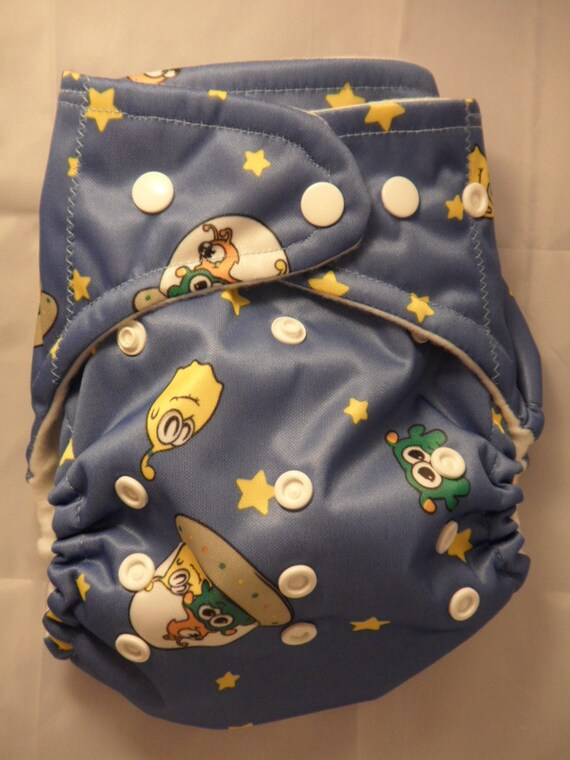 SassyCloth one size AIO pocket diaper with aliens on blue  PUL print. Made to order.