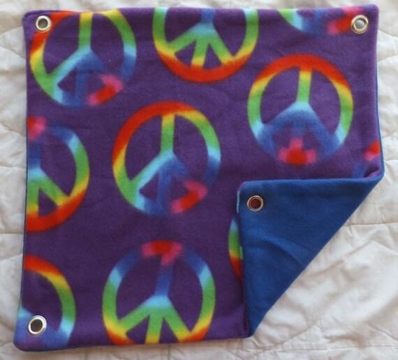 Purple & Rainbow Peace Signs on Blue Fleece Hammock for Ferrets, Rats, Chinchillas, Sugar Gliders or Small Animals