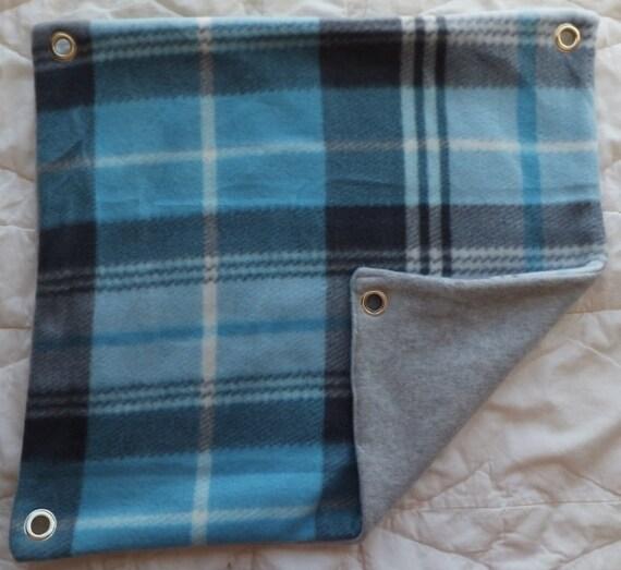 Blue Plaid on Grey Fleece Hammock for Ferrets, Rats, Chinchillas, Sugar Gliders or Small Animals