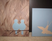 RESERVED for Jessi with love - 3 Custom Paintings - Blue Lovebirds, Soaring Sparrow, Yellow Lovebirds