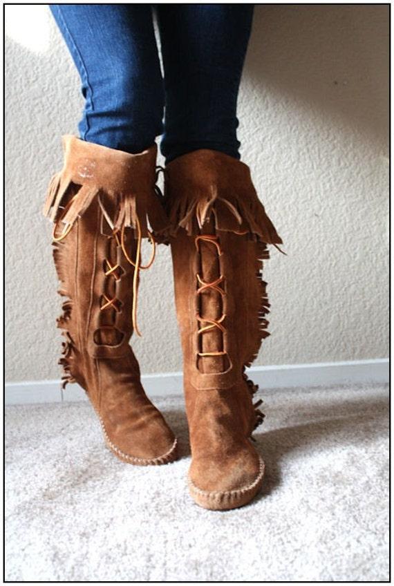 FOR YASK...Mahogany Fringe moccasin boots