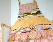 Unique Spring 'Garden Landscape' Contemporary Prints on Flirty Ruffled Full Apron
