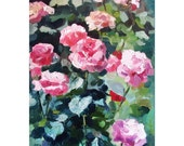 Original Oil Painting Flowers. Ready to hang. The Queen of Flowers. Pink Rose. Flower Painting.