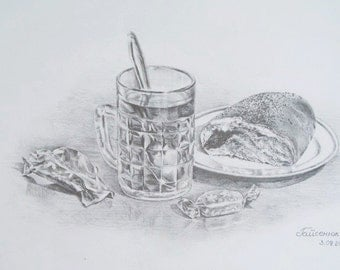 Original Pencil Drawing. Still Life. Sweet bun and tea. Kitchen art decor.