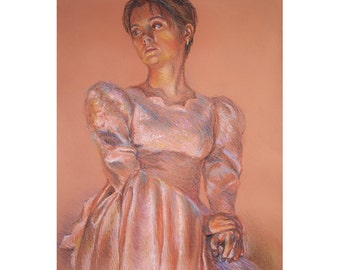 Original Pastel Painting 25'' x 11.8'', Oil pastel painting of a girl. Fairytale Princess.