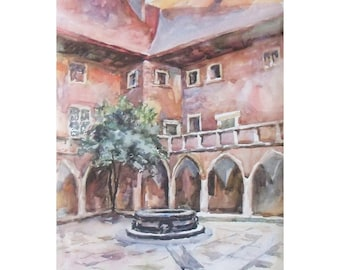 Original Watercolor Landscape Painting 22.8'' x 16.5''. Pink patio. Watercolor architecture. Poland.