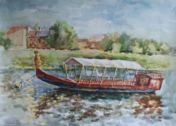 Original Watercolor Landscape Painting. 16.5'' x 23.4''. A boat on the Vistula river. River painting.