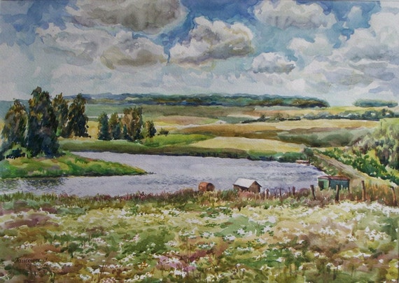 Original Watercolor Landscape Painting. 16.5'' x 23.4'' Summer Landscape. Field, sky and freedom.