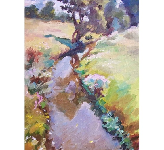 Oil Landscape Painting, 22.8'' x 17.7'', Ready to hang, Original painting, Autumn landscape, Plein Air, Autumn flowers by the stream.