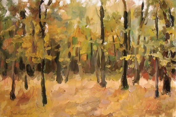 Original Oil Painting Landscape 15.7'' x 23.6'', Golden Forest, Fall landscape, Autumn Landscape, Impressionism. Ready to hang.