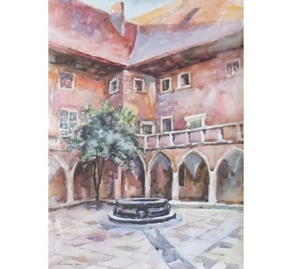 Original Watercolor Landscape Painting 22.8'' x 16.5''. Pink patio. Watercolor architecture. Poland.
